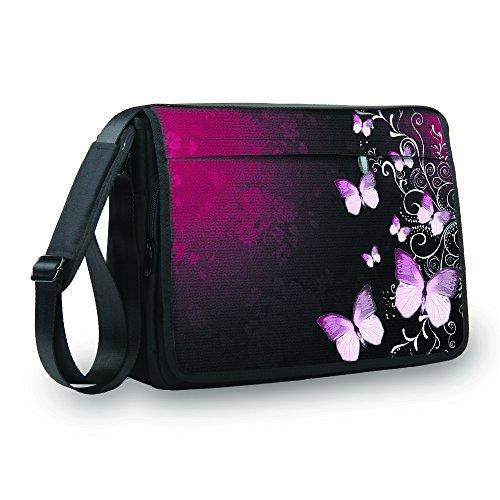 MySleeveDesign Messenger Bag Laptoptasche Notebooktasche mit Tragegurt - Tasche für Laptop & Notebook der Größen 13,3 Zoll / 14 Zoll / 15,6 Zoll / 17,3 Zoll - VERSCH. DESIGNS - Butterfly Pink - 17