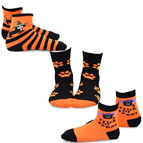 der Baumwolle Crew Socken Gr. 3-5 Jahr, Kitten Trick or Treat 3-pk (5 Halloween-tricks)