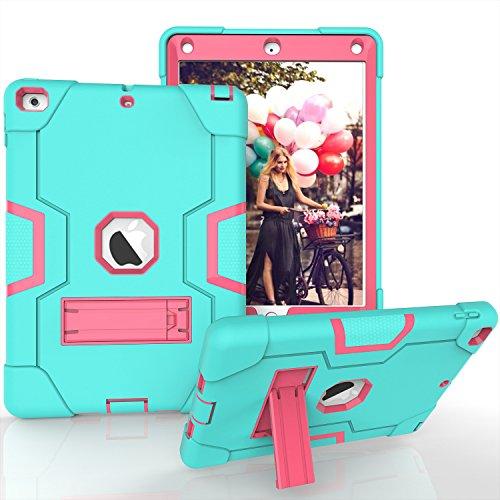 iPad Air Fall, iPad 5Case, beimu 3in1Combo Hybrid Heavy Duty Armor Fullbody Holster Rugged Defender Schutzhülle mit Integriertem Ständer für Apple iPad 5/iPad Air, Aqua+Rose Samsung Slim Combo