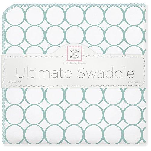SwaddleDesigns Ultimatives Pucktuch, Premium Baumwollflannell, Poppige Kreise auf weißem Grund, Meerkristall