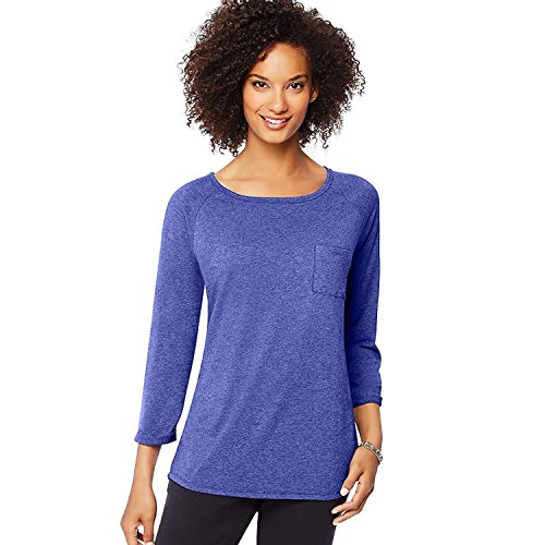 Hanes Women's Fashion Essentials Raglan Pocket Tee_Out Of The Blue Heather_XL (Hanes-pocket-tees)
