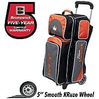 Team Brunswick 3 Ball Deluxe Roller Bowling Bag- Slate/Orange by Brunswick