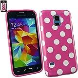 Emartbuy® Samsung Galaxy S5 Mini SM-G800 Polka Dots Gel Hülle Schutzhülle Case Cover Hot Rosa / Weiß