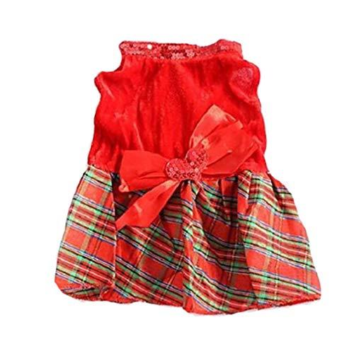 Kostüm Plaid Baumwolle - YAMEIJIA Hund Kleider Hundekleidung Plaid/Karomuster Baumwolle Kostüm Für Haustiere Damen Modisch Weihnachten,L