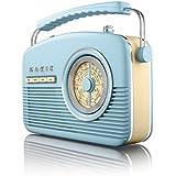 Akai A60010BL Portable 4 Band Retro Radio - Blue