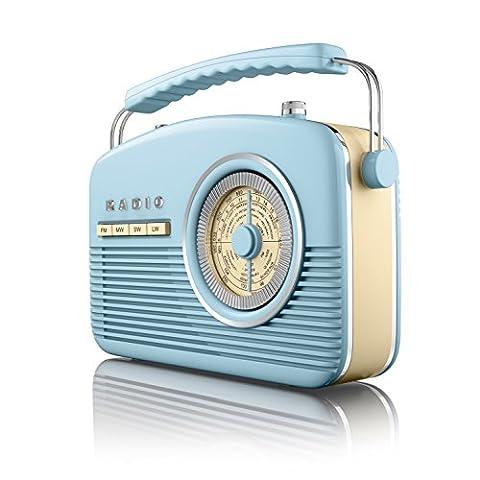 Akai A60010Bl Portable 4 Band Retro Radio, 14 W - Blue