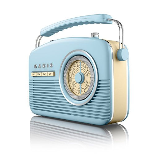 Akai Portable 4 Band Retro Radio, 14 W - Blue