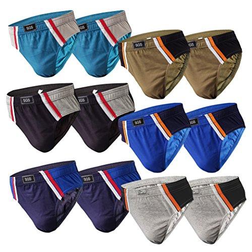 SG Herren Pack Sportslip für Männer Unterwäsche für Herren Bunt Unterhosen aus Baumwolle Männer Slip- - Gr.10 (XXX-Large, 6.stück 570) (Slips Unterwäsche)