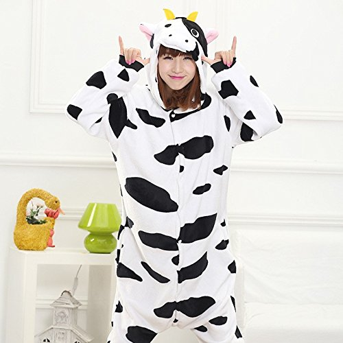 MH-RITA Pijama volle Flanell Schlafanzug Schlafanzug für Frauen Kostüme für Erwachsene nachtwäsche Home für Bekleidung Übergrößen, Kuh, L (Frauen Kuh Kostüme)