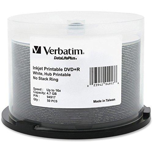Verbatim inkjet printable dvd + r discs, 4.7gb, 16x, spindle, white, 50/pack