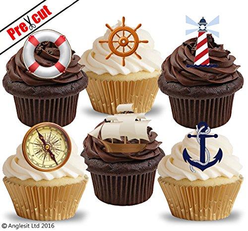 schnittenen Nautisches Sailing Ship & Zubehör essbarem Reispapier/Waffel Papier Cupcake Kuchen Dessert Topper Geburtstag Party Dekorationen ()