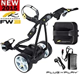 """NEW 2015"" POWAKADDY FW3 BLACK ELECTRIC GOLF TROLLEY ALL BATTERY OPTIONS AVAILABLE + CHARGER & FREE GIFT (18 Hole)"