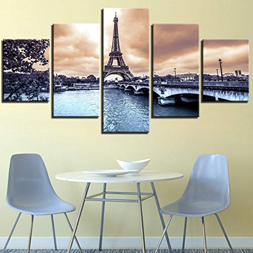 JCCanvas Moderno Cuadro En Lienzo 5 Piezas Torre Eiffel