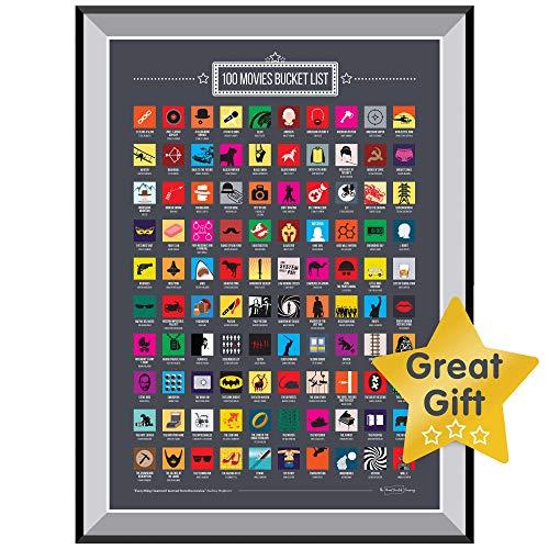 Great Scratch Company The Poster zum Abkratzen von 100 Filmen Aller Zeiten, tolles Geschenk für jeden Filmliebhaber - Coole Film Poster