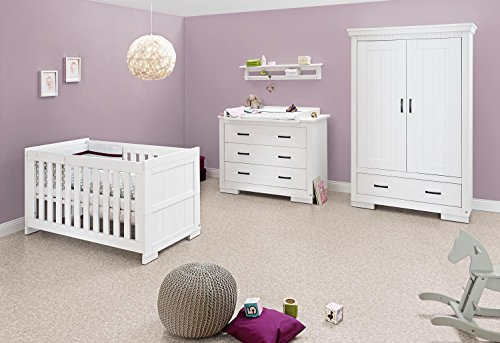 Pinolino skrollan Nursery Set di mobili (Wide, (Biancheria Oak Bed)