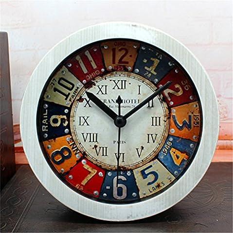 DIDADI Alarm clock Retro continental Zinn animation Stereo kreative Alarm embedded metall nieten Schlafzimmer faule Menschen Jong-mute 12 cm