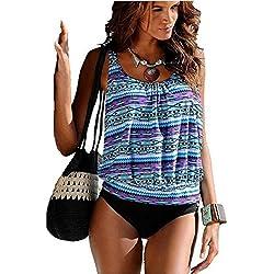AHOOME Tankini Floral Traje de Ba?o Dos Piezas Push up para Mujer bikini conjuntos de dos piezas Beachwear Swimsuit -2017