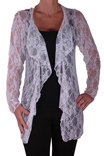 Eyecatch - Riya Frauen Blumenspitze Wasserfall Strickjacke Damen Plus Größe öffnen Cardi White Gr. 48 Plus Größe Weiße Jacke