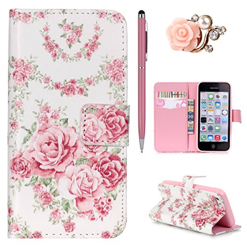 iPhone 5C Handytasche, Felfy Ultra Slim Flip für / Apple iPhone 5C / Leder Etui Ledertasche Schutzhülle Case Cover / Relief Schön Rosa Rose Blume Stil / 1x Rosa Flower Anti Dust Plug / 1x Pink Stylus Rosa Rose Blume
