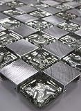Glasmosaik Mosaike Mosaikfliesen Glasfliesen Mosaik Glas Aluminium gebürstet neu