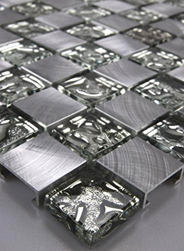 Aluminium Mosaik (Glasmosaik Mosaike Mosaikfliesen Glasfliesen Mosaik Glas Aluminium gebürstet neu)