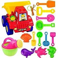 Makkalen 14PCs Kids Beach Sand Toys Set Large Dump Truck Sand Water Wheel, Beach Molds, Beach Bucket Beach Dredging Shovel Bucket Tool Kit, Sandbox Toys for Toddlers, Kids Outdoor Toys