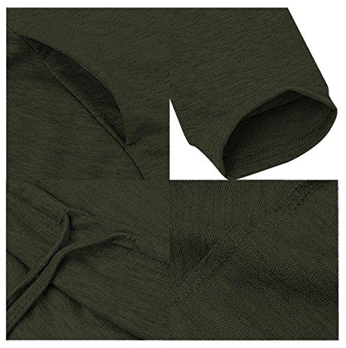 CARINACOCO Damen Kapuzenshirt Asymmetrisch Oversize Loose Langarmshirt Jumper Hoodie Sweatshirt Shirt Oberteile Tops T-shirt Dunkelgrün
