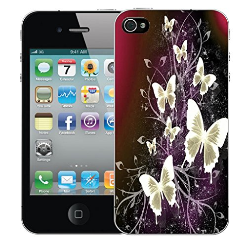 Mobile Case Mate iPhone 4s clip on Dur Coque couverture case cover Pare-chocs - elegant petal Motif cluster butterflies