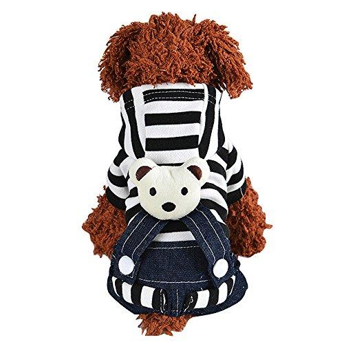 Eizur Haustier Hund Gestreift Overall Bear Muster Jean Bekleidung Hundekleidung Kleidung Mantel Geschenk Kostüm Größe S - Blau (Superman Dog Kostüm Große)