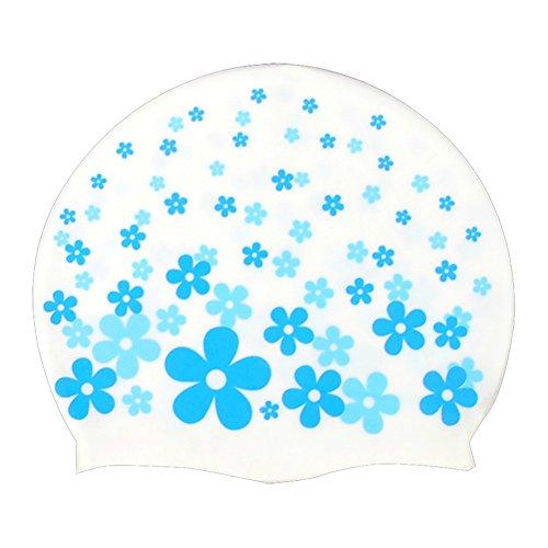 Kinder Badekappe, niedliche Cartoon, Junge / Mädchen, wasserdicht, elastisch, Kunststoff, meerblau