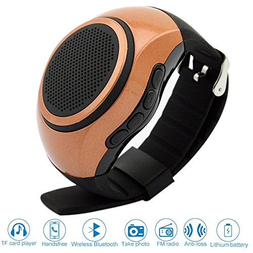 Svpro Wireless Bluetooth Lautsprecher Armbanduhr Tragbare Sport Armband MP3-Musik-Player,Freisprechfunktion,Telefon-Anti-Verlorene,Karten-Unterstützung,Selbstanslöser,USB-Unterstützung (gelb-B20)