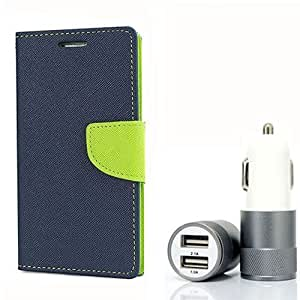 Aart Fancy Diary Card Wallet Flip Case Back Cover For Samsung ON5 - (Blue) + Dual ports USB car Charger With Ultra Power Technolgy by Aart Store.