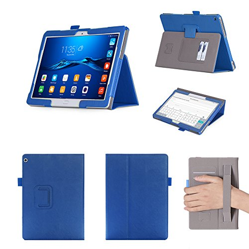 ISIN Tablet Fall Serie Premium PU-Leder Schutzhülle für Huawei MediaPad M3 Lite 10 BAH-AL00 und BAH-W09 10,1 Zoll WIFI 4G LTE Tablet Handy PC mit Handschlaufe und Kartenschlitz (Blau)