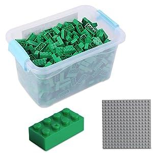 Katara Juego De 520 Ladrillos Creativos En Caja Con Placa De Construcción 100% Compatibles Con Lego Classic, Sluban, Papimax, Q-bricks, Color Verde (1827)