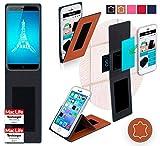 reboon Hülle für Ulefone Paris Tasche Cover Case Bumper | Braun Leder | Testsieger