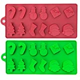 2 Pack of Novelty Festive Silicone Moulds – 6 Christmas Theme Shapes – Ideal for Making Seasonal Cakes, Chocolate, Muffins, Biscuits, Ice Cubes, Models and Candles