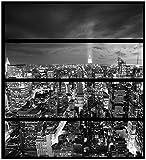 Wallario Möbelfolie/Aufkleber, geeignet für IKEA Malm Kommode - New York bei Nacht - Panoramablick über die Stadt - schwarzweiß mit 4 Schubfächern