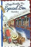 Cards Galore Online Son Geburtstagskarte–Steam Train, Koffer, Golf Clubs, Hat & Kamera 26,7x 17,8cm