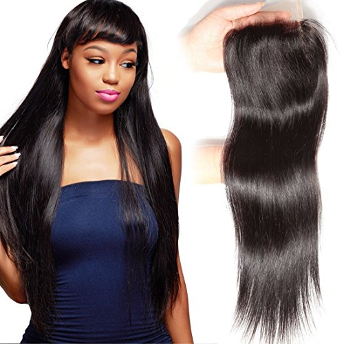 Mudra 16inch, Free part: Unice Hair Malaysian Straight Virgin Human Hair Free Part 4X4 Lace Closure Natural Color (16inch, Free part)