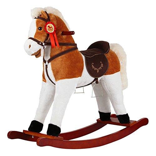 Qxmei regalo del giocattolo del bambino di musica di legno solido del cavallo a dondolo del cavallo di legno dei bambini 2-6 anni