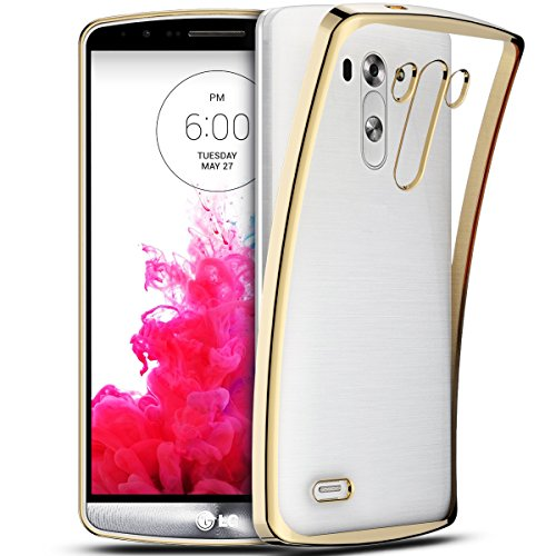 SmartLegend LG G3 Coque Silicone ,LG G3 Etui Clair , LG G3 Housse Silicone Crystal Transparente Ultra Mince Premium Semi - Transparent Shockproof Anti Slip Soft Rubber Back Panel Bumper Fashion Protection Case - Or - LG G3