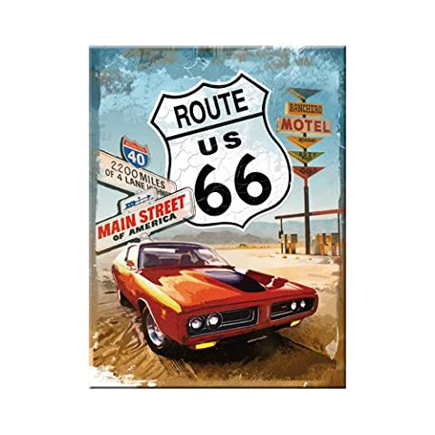 Nostalgic-Art 14229 US Highways Route 66 Red Car, Magnet, 8 x 6 cm