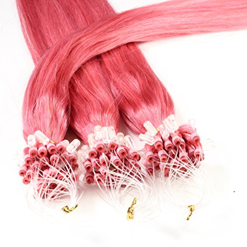 hair2heart 25 x 0.5g Echthaar Microring Loop Extensions, 50cm - glatt - #pink - Rosa Loop-hair Extensions Micro