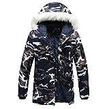 Rera Herren Winter Warm Parka Lange Camouflage Jacke Übergangsjacke Outwear Kapuzenjacke Zip-Hoodie Steppjacke Sweatjacke