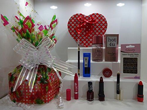 Panier de cadeau de Saint-Valentin pour elle ~ Luxe 10pc Parfum et maquillage Beauté Boîte cadeau Panier cadeau pour elle. Édition limitée. 334.