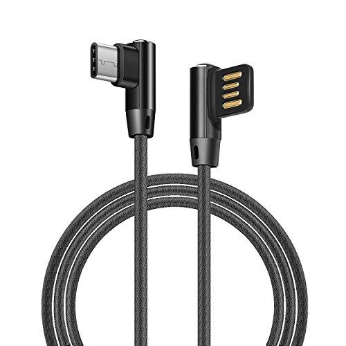 Ehpow USB Type C Kabel, Fast Charge Kabel, Doppelseitiges USB und doppelseitiges 90 Grad Ellenbogen Interface USB Type C Kabel für Samsung Galaxy Huawei Honor Nexus LG Lumia (1M-Schwarz)