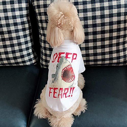 Für Hunde Kostüm Kampf Katze - Gezeiten Marke Haustier Eltern-Kind-Hund Kleidung Sommer Dünnschliff Baumwoll-T-Shirt Kleiner Hund Bomei Gesetz Kampf Katze Kostüm @ Pet White T-Shirt (Shark) _XXL