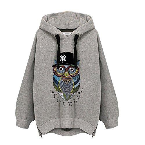 Moshow Damen Übergröße Sweatshirt Kapuzen Samt Pullover Eule Unterhemd Winter Langarm T-Shirt Kapuzenpulli -