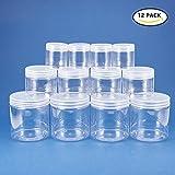 BENECREAT 12 confezione 2,8/8/19oz Barattoli di caramelle Slime Clear contenitori vuoti in plastica a bocca larga con coperchi trasparenti per la produzione di melma fai da te