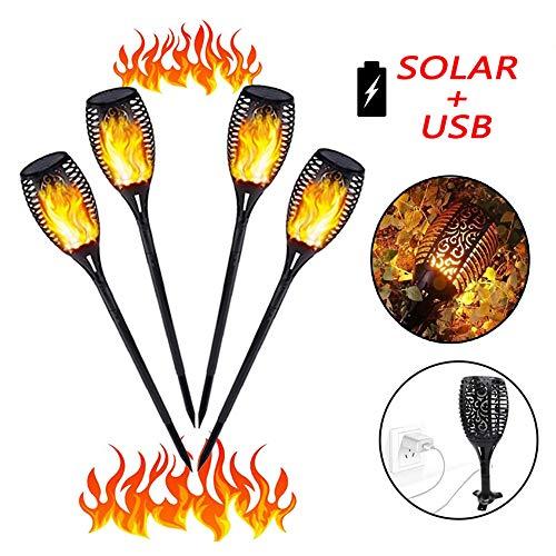 4 Stück XINYANSEE®Solarleuchte mit USB Aufladen Garten Garten-Fackeln Solar Gartenleuchte Solarlampe Gartenfackeln mit realistischen Flammen einfach Montage und IP65 wasserdicht